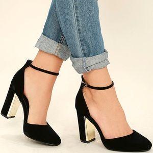Lulu's Suede Laura ankle strap block heels